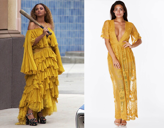 Beyonce mustard yellow dress