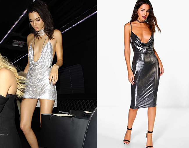 Kendall Jenner Slinky Silver Dress