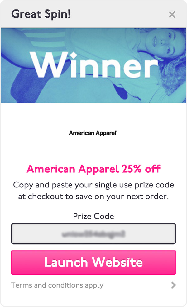 American Apparel Spin And Win